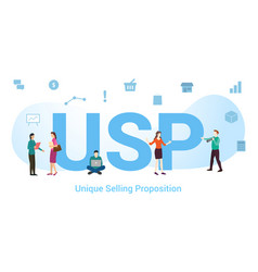 Usp unique selling proposition concept with big vector