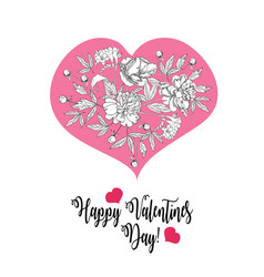 Valentines printable poster with flowers vector