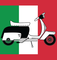 Vintage scooter type 1 on italian flag background vector