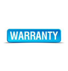 warranty blue 3d realistic square isolated button vector image
