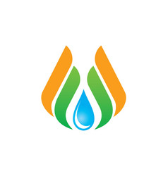Water drop eco wing abstract logo vector