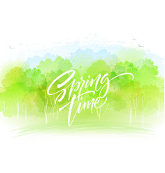Watercolor landscape background with spring time vector