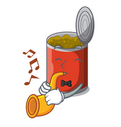 With trumpet canned food on the table cartoon vector