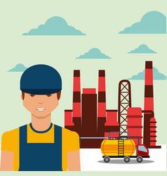 worker transport tanker truck refinery plant oil vector image