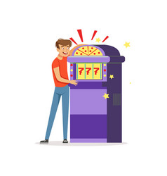 Crazy depressed man gambling at slot machine bad vector