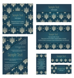 Damask Invitation Card Set vector image