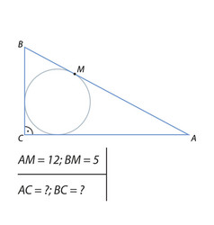 finding the legs of a right triangle vector image vector image