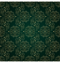 Floral vintage seamless pattern on green backgroun vector image vector image