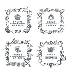 frames with fruits vegetables bakery and spices vector image
