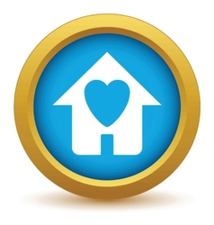 Gold love house icon vector image