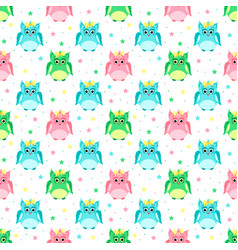 Green pink blue owls with bows vector