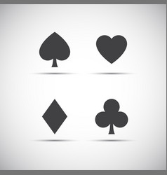 playing card symbols isolated on white background vector image vector image