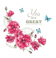 Vintage Watercolor Floral Card with Bouquet of Red vector image vector image