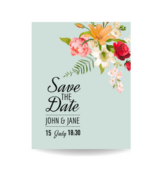 wedding card with watercolor lily flowers vector image vector image