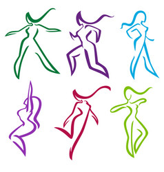 Collection of abstract women in dancing and vector