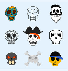 Different style skulls faces vector
