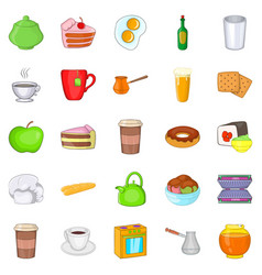 Eating icons set cartoon style vector