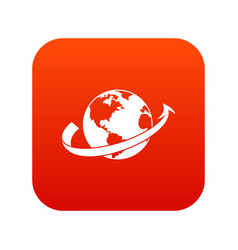 airplane fly around the planet icon digital red vector image vector image