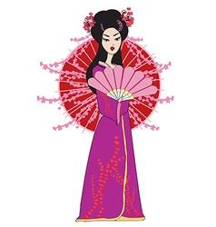 Beautiful japanese geisha girl in kimono vector image