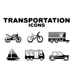 Black glossy transportation icon set vector