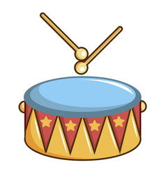 Colorful drum and drumsticks icon cartoon style vector