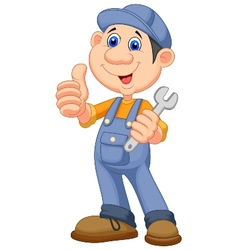 Cute mechanic cartoon holding wrench and giving th vector image vector image