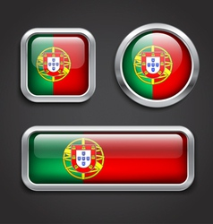 Portugal flag glass buttons vector image vector image