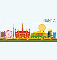 vienna skyline with color buildings and blue sky vector image vector image
