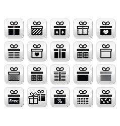 Present gift box buttons set vector image vector image
