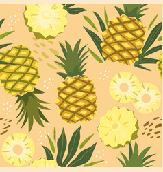 abstract seamless patterns with exotic pineapple vector image