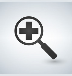an isolated magnifier icon with a pharmacy sign vector image