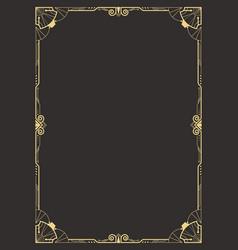 Art deco border template vector