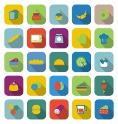 Bakery color icons with long shadow vector image
