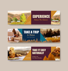 banner template with landscape in autumn design vector image