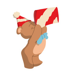 bear wearing a birthday hat and gets a gift vector image