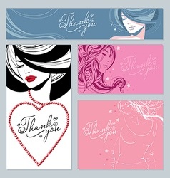 beautiful girls stars and hearts vector image
