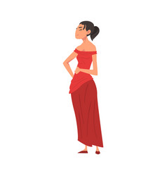 beautiful haughty fashionable woman in red dress vector image