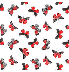 beautiful watercolor red butterfly seamless vector image