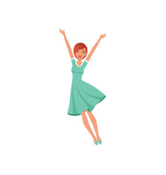 Beautiful woman in jumping action with hands up vector