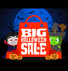 big halloween sale design background vector image