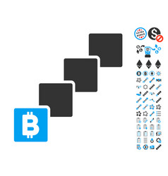 bitcoin blockchain icon with bonus pictograms vector image