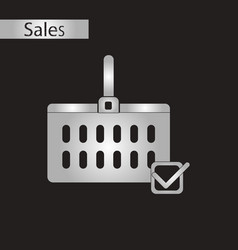 Black and white style icon shopping cart sale vector