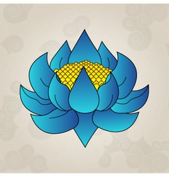 Blue lotus japanese tattoo vector