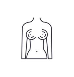 Breast augmentation line icon concept breast vector