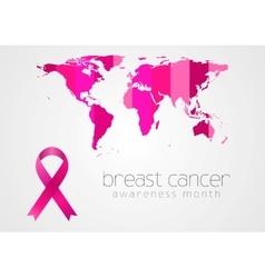 Breast cancer awareness pink ribbon and map vector