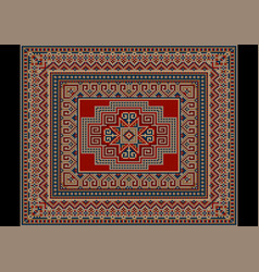 Bright carpet with red bluebeige and gray vector