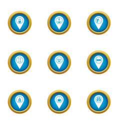 Browsing icons set flat style vector