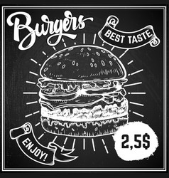 burgers menu cover layout menu chalkboard vector image