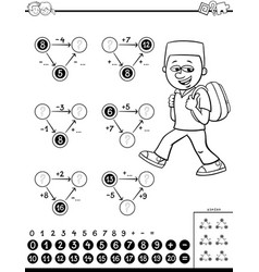 Calculation educational task coloring book vector