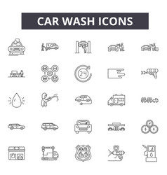 car wash line icons for web and mobile design vector image